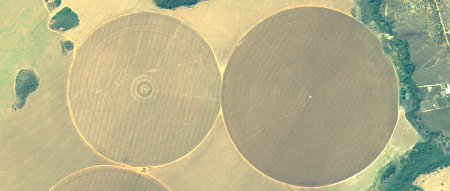 Imagem Kompsat 3A modo MS, cores naturais, de  1,6 m de resolução de uma área rural, escala 1:7.500