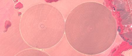 Imagem Kompsat 3A modo MS, cores falsas, de  1,6 m de resolução de uma área rural, escala 1:7.500