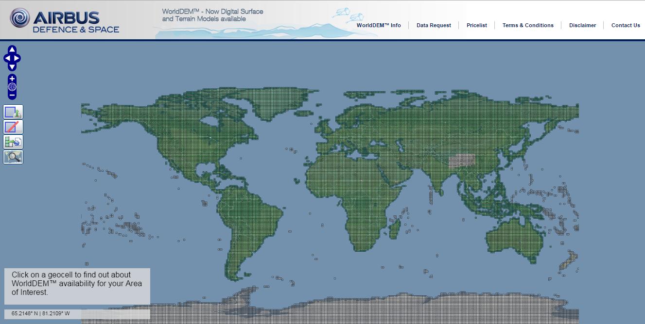 Areas do WORLD DEM