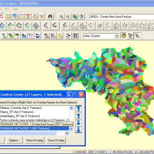 Análise e partição automática em sub bacias pelo Global Mapper