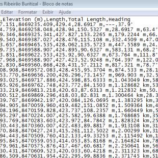 Extrato da listagem das vértices virtuais em coordenadas cartográficas extraidas da intepretação da calha do rio