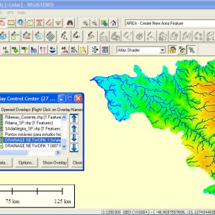 Analise automática da drenagem realizada pelo Global Mapper na bacia hidrográfica.