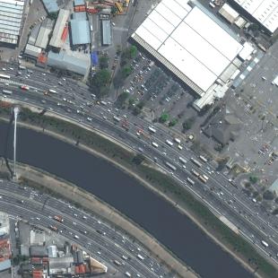 World View 3 PSM, 30 cm, colorido,  de estacionamento shopping e Rio Tietê em São Paulo, SP