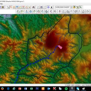 Estudo de rota de escoamento para um ponto em Águas Lindas de Goias - GO