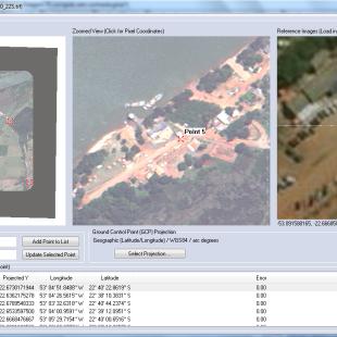 Correção geométrica de imagens de satélites de altíssima resolução no Global Mapper. Detalhe da escolha de pontos de controle.