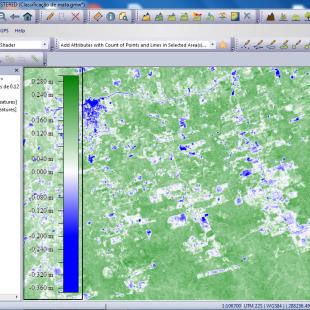 NDVI gerado na mesma área pelo Global Mapper
