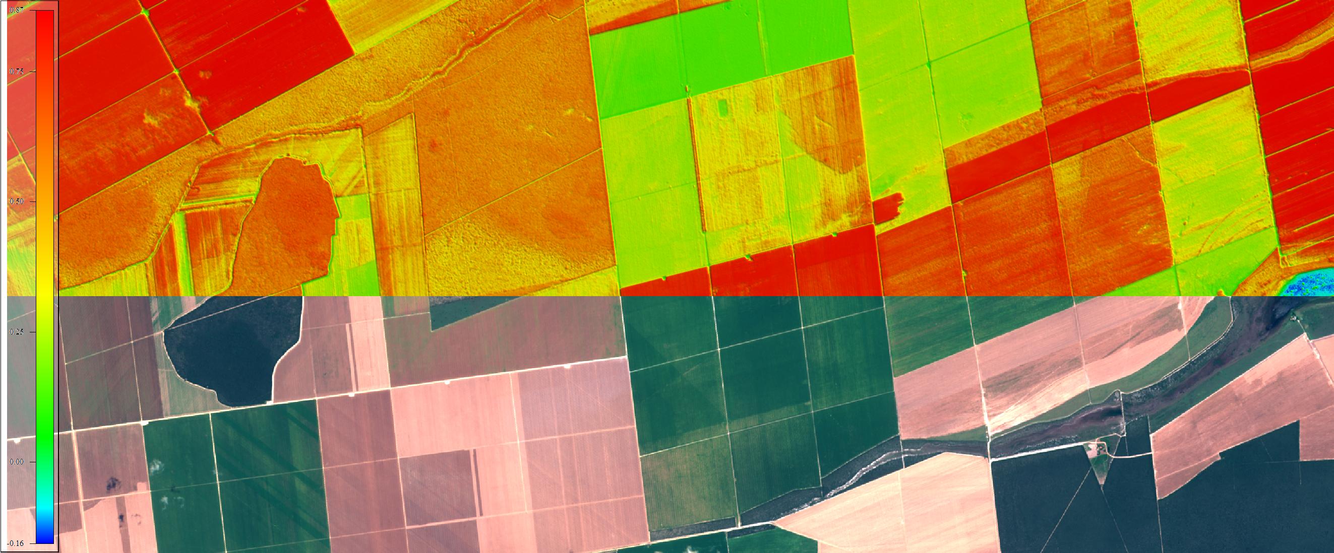Comparativo Composição cores naturais e NDVI sobre área agrícola imagenada pelo Sentinel-2, 1:50.000