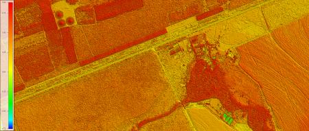 NDVI elaborado com Imagem Kompsat 3A modo PSM, cores naturais, de  40 cm de resolução de uma área rural, escala 1:10.00