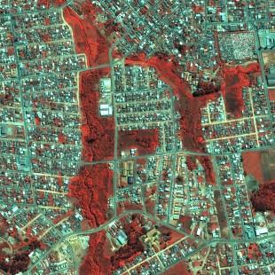Pleiades 0,50 m de resolução, falsas cores,  área urbana de Fazenda Rio Grande, PR