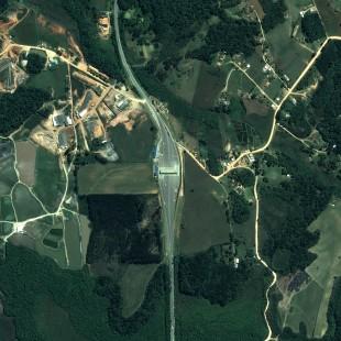 Pleiades 0,50 m de resolução, Cores Naturais, praça de pedágio de Fazenda Rio Grande, PR