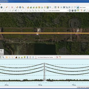Vizualização de perfil de nuvem LiDAR em linhar de transmissão