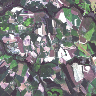 RapidEye , 5 m, cores naturais, de área rural