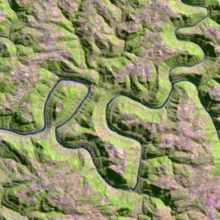 Recorte Landsat TM 30 m de resolução colorido 5-4-3 em R-G-B da Serra Gaúcha em  17-02-99