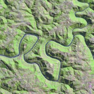 Recorte Landsat TM 30 m de resolução colorido 5-4-3 em R-G-B no RS em 29-07-84