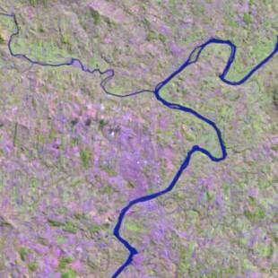 Recorte Landsat TM 30 m de resolução colorido 5-4-3 em R-G-B  no RS em  17-02-99