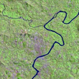Recorte Landsat TM 30 m de resolução colorido 5-4-3 em R-G-B  no RS em  27-07-84