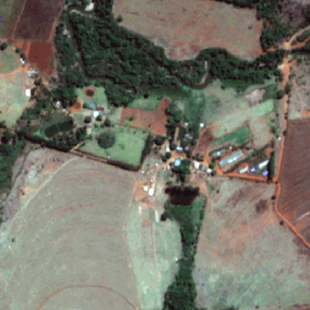 Pleiades MS de 2,00 m de resolução P&B de área rural de Anápolis-GO