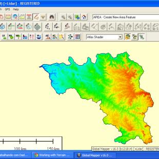 Modelo de Elevação (MDE) da bacía hidrográfica, colirizada pelo Global Mapper