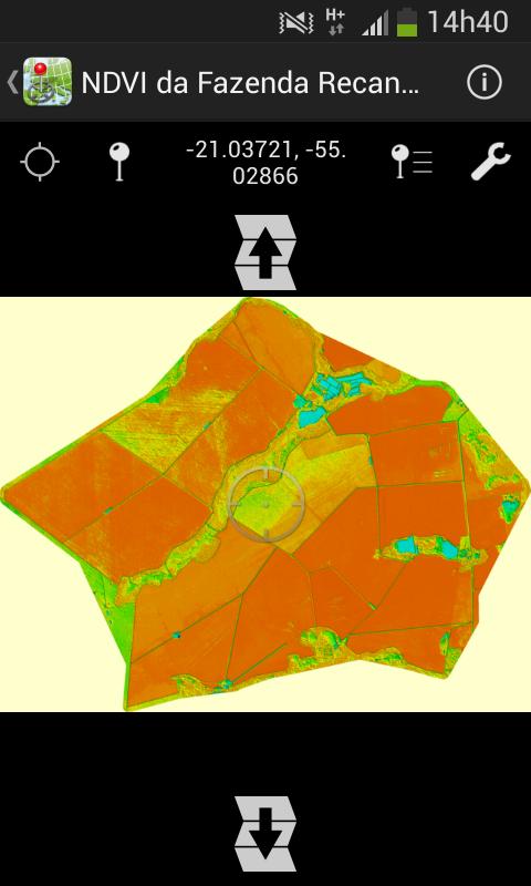 NDVI da fazenda no celular no aplicativo PDF Map