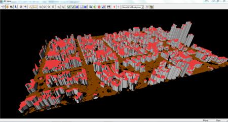 Visualização 3D dos shapes das edificações com a classe solo