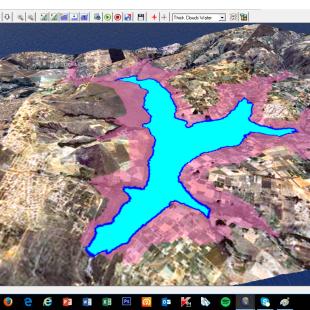 Simulação de inundação de 15 m