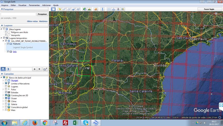 Grade Sentinel-2 carregada no Google Earth