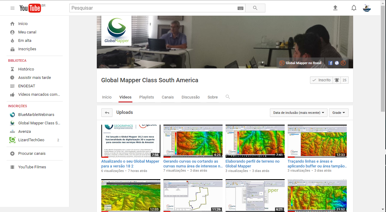 Tela YouTube Global Mapper CLass