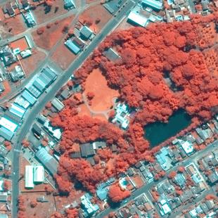 WV2 PSM 0,50 m em cores falsas de resolução de área de parque de Montenegro - RS