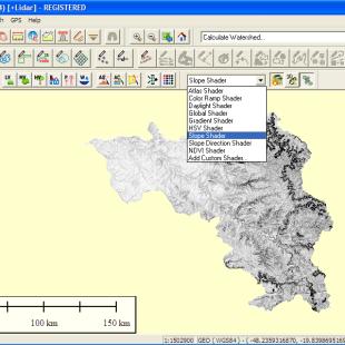 Análise de Declividade a partir do MDE da bacia hidrográfica pelo Global Mapper