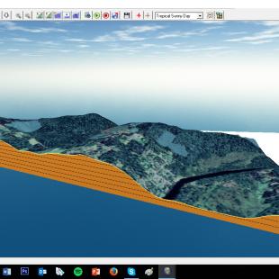 Exemplo de perfil realizado com a imagem Pleiades e altimetria do SRTM